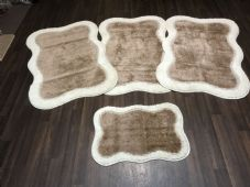 Non Slip Washable Romany Traveller/Gypsy Mat Set 4Pc 2 tone Cream/Beige  Available (1) (3)